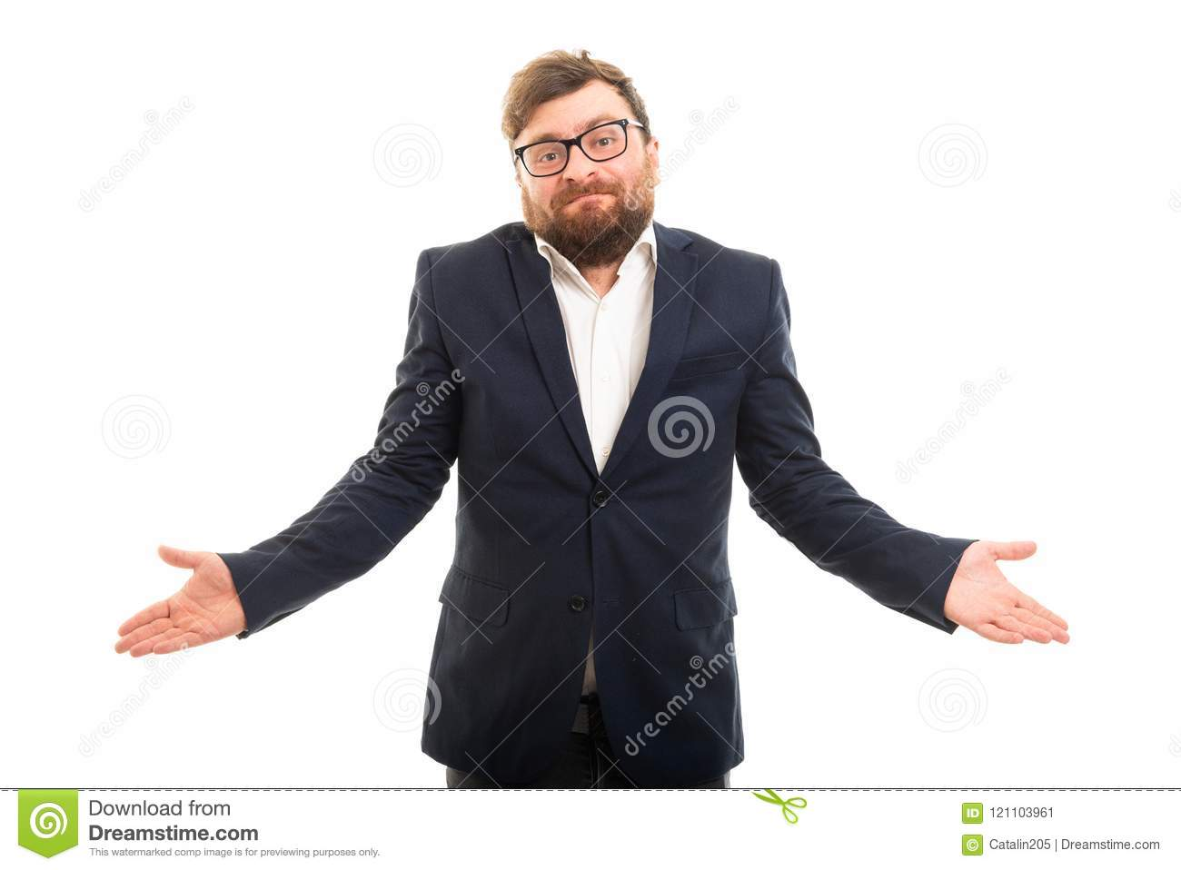 Portrait of business man showing don`t know gesture