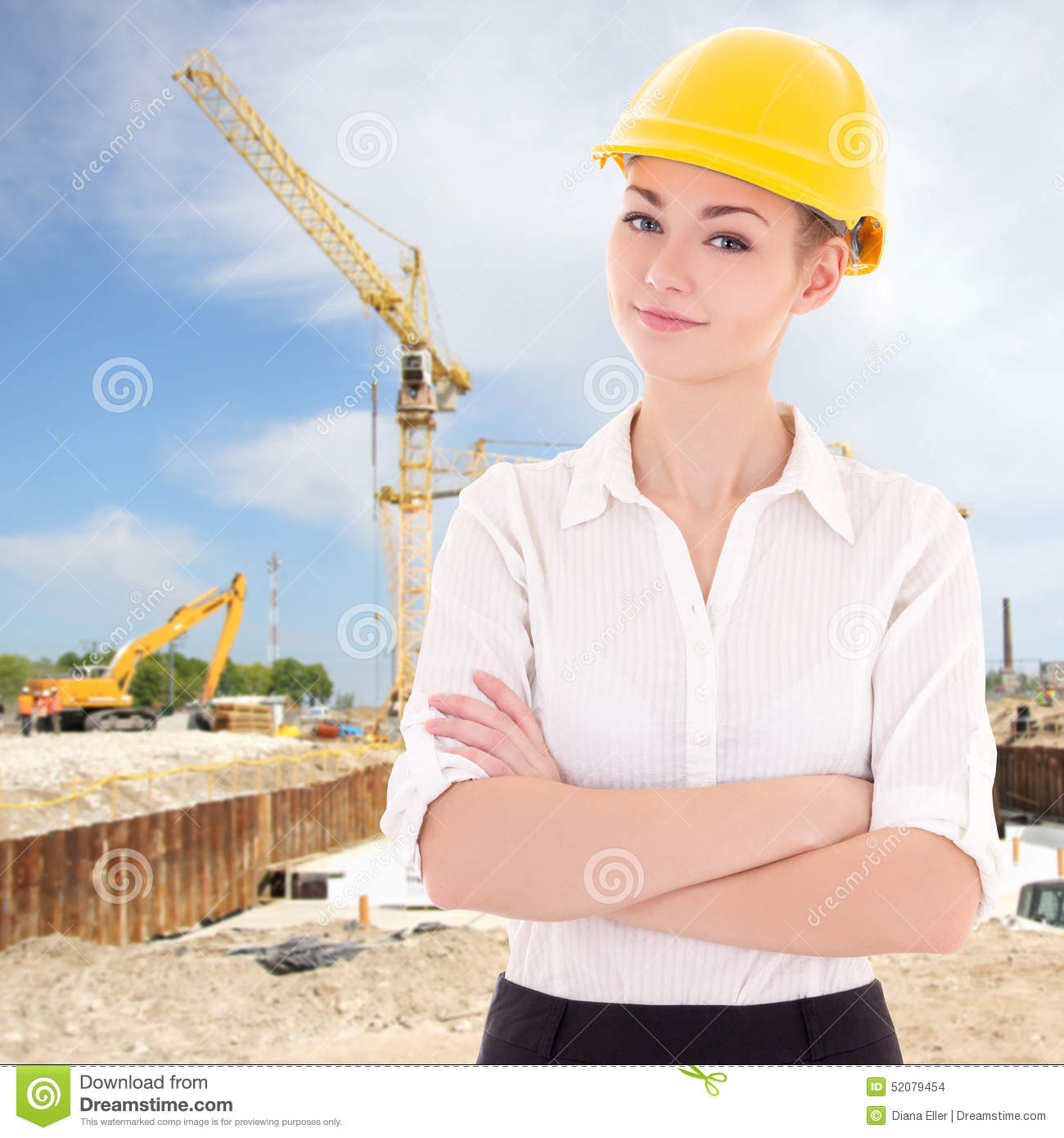 82c01d4be99 Portrait Of Business Woman Architect In Yellow Builder Helmet Stock ...