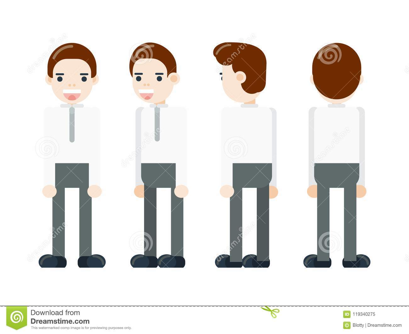 Portrait of a Businessman in full-length from different angles. Character for rigging and animation.