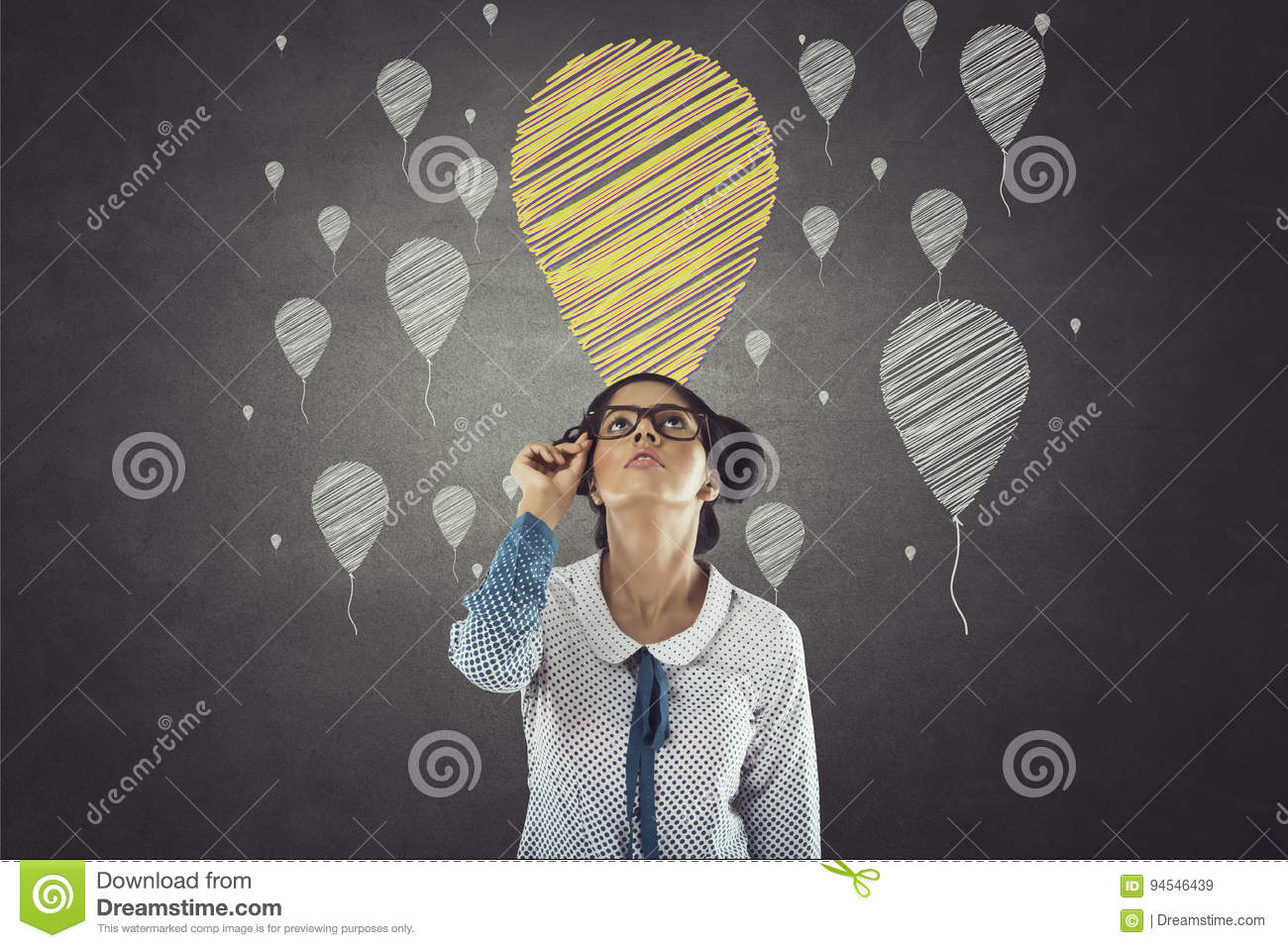 Portrait of businesswoman with balloon icons