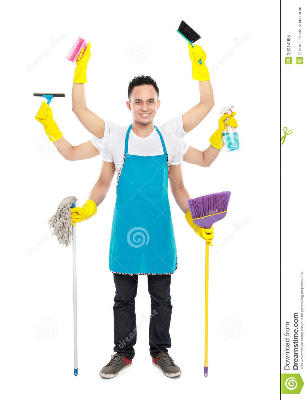 Busy Male Cleaning Service Royalty Free Stock Photo