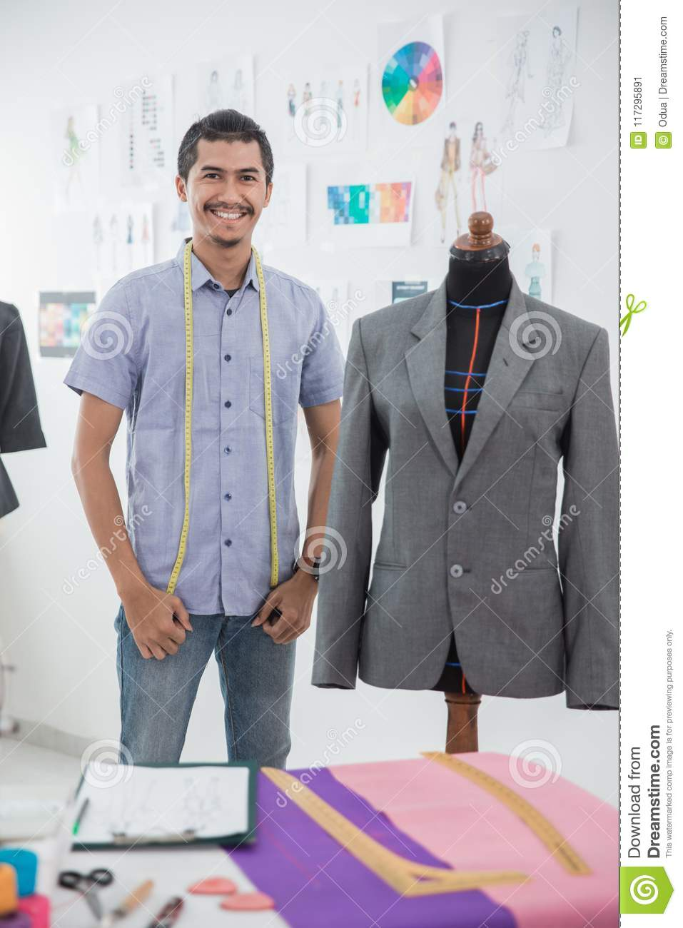 Fashion Designer Make A Suit Stock Image Image Of Style Adult 117295891