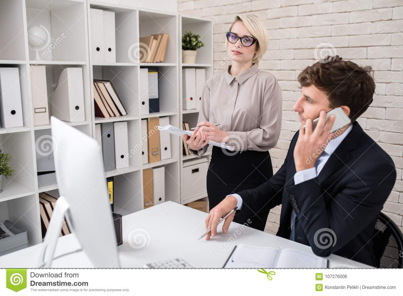Business Executives Busy Working in Office