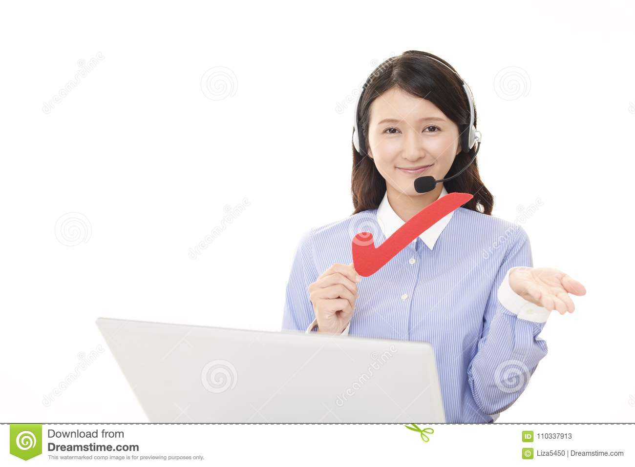 Call center operator with a check mark