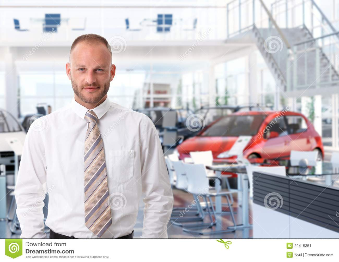 portrait of car salesman in showroom stock photo image 39415351. Black Bedroom Furniture Sets. Home Design Ideas