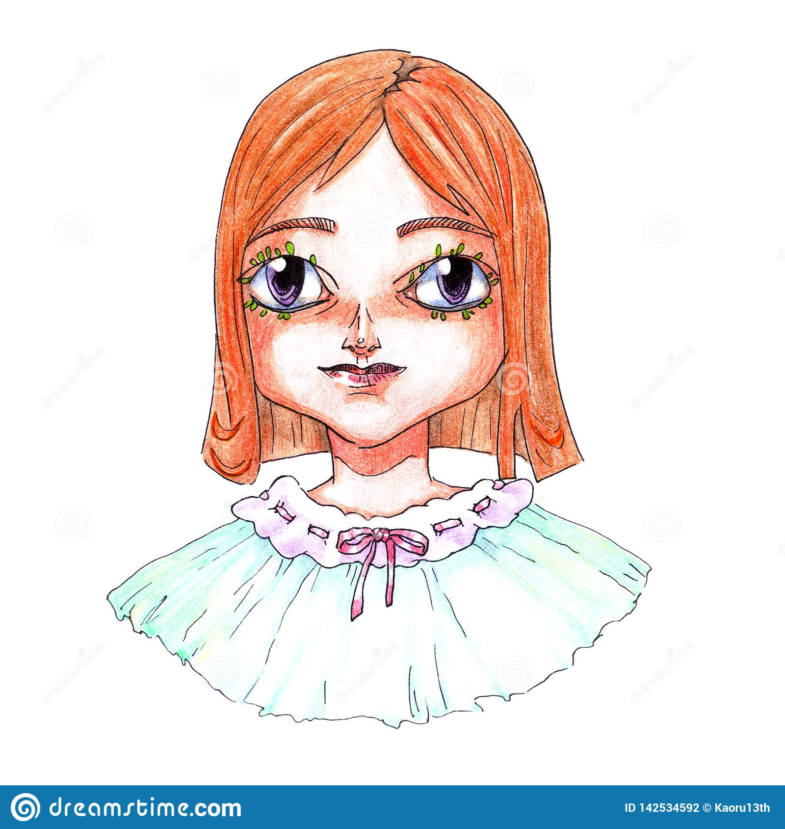 Portrait Of A Cartoon Redhead Girl Drawn In A Color Pencil With