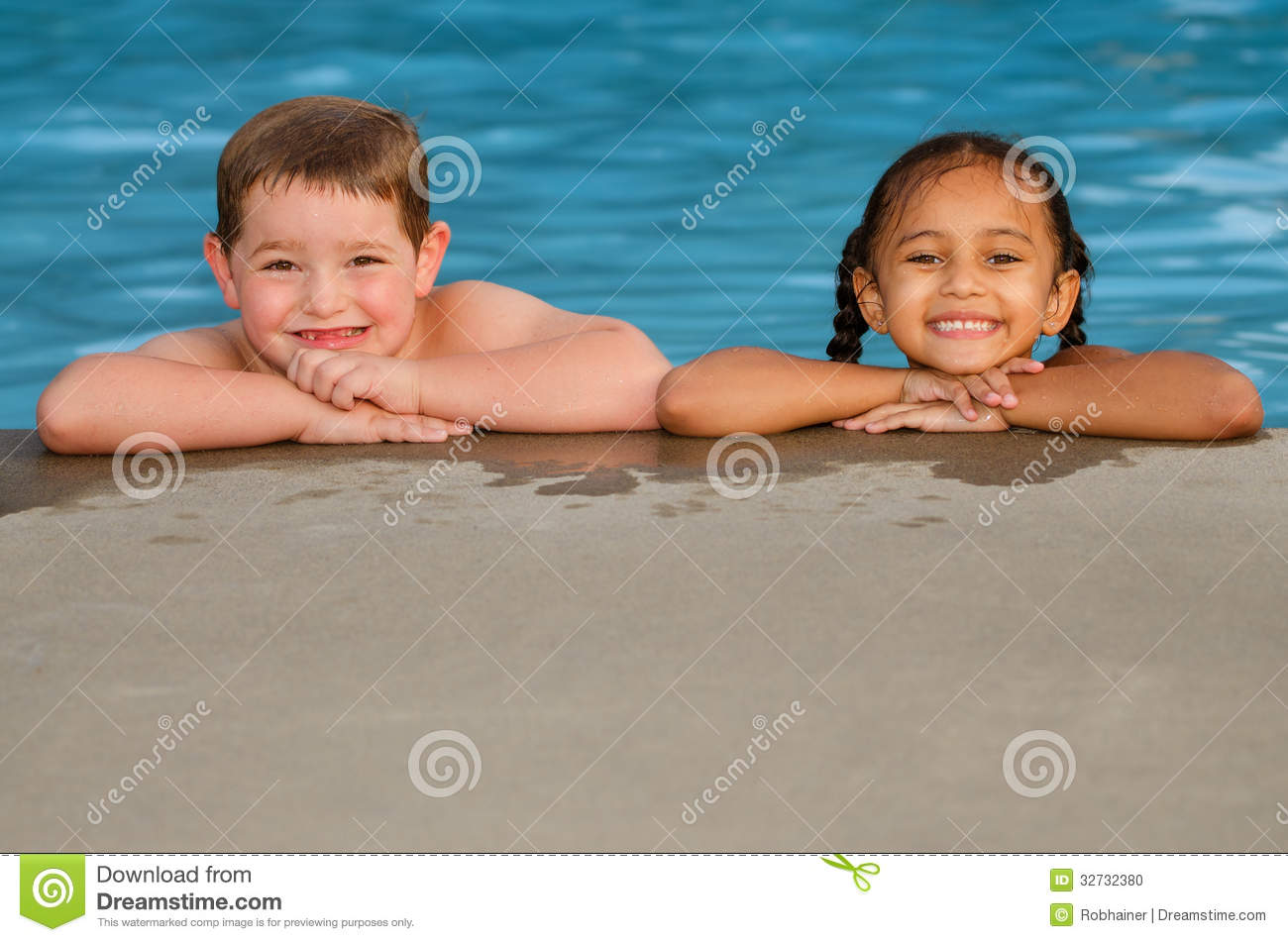 Portrait Of Caucasian Boy And Mixed Race Girl In Pool Stock Photo Image 32732380