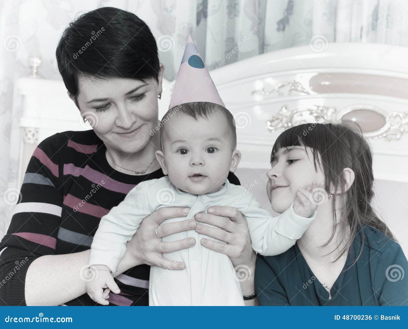 Portrait of caucasian family on happy birthday