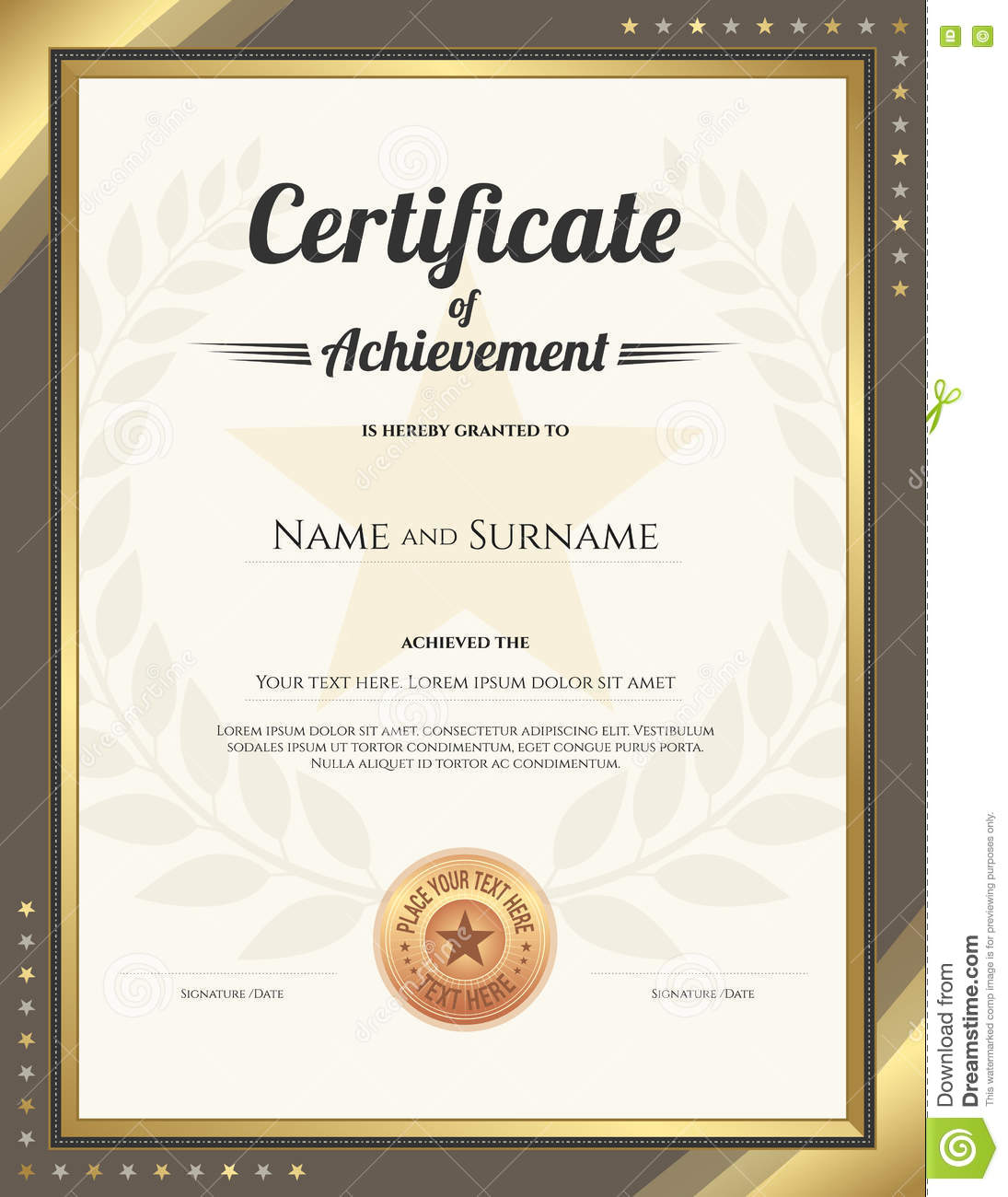 Portrait Certificate Of Achievement Template With Gold ...
