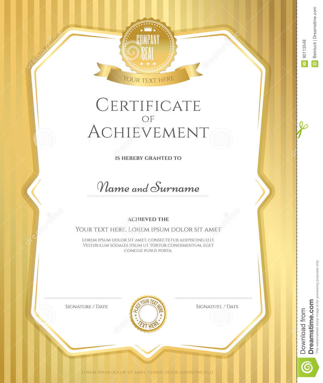 Portrait Certificate Of Achievement Template In Vector ...