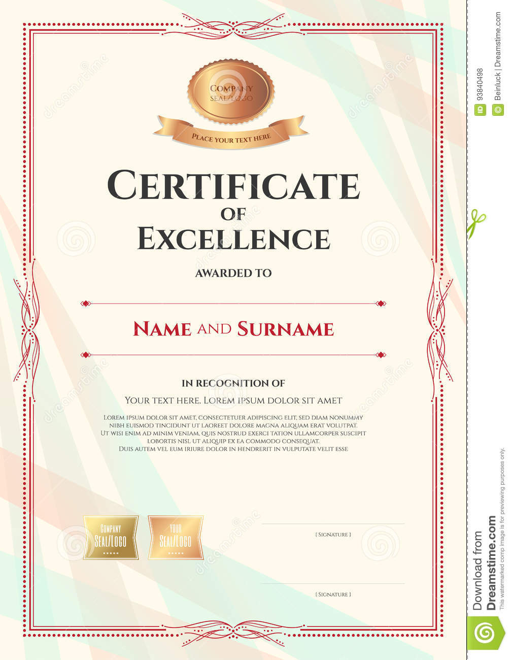 Royalty Free Vector. Download Portrait Certificate Of Excellence Template  ...