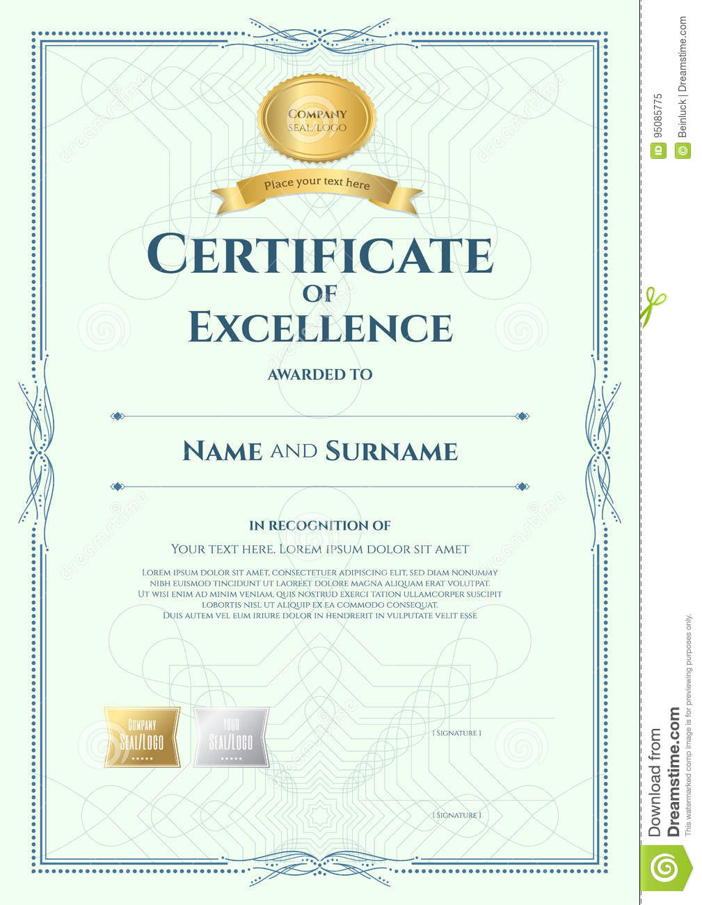 Portrait Certificate Of Excellence Template With Award Ribbon On