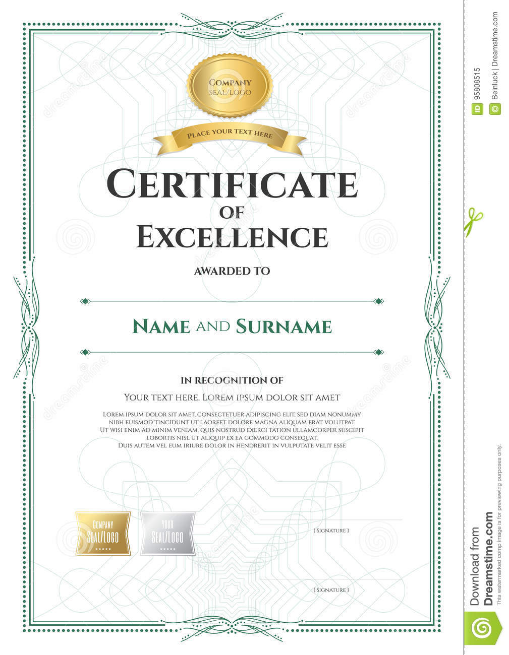 Portrait Certificate Of Excellence Template With Award ...