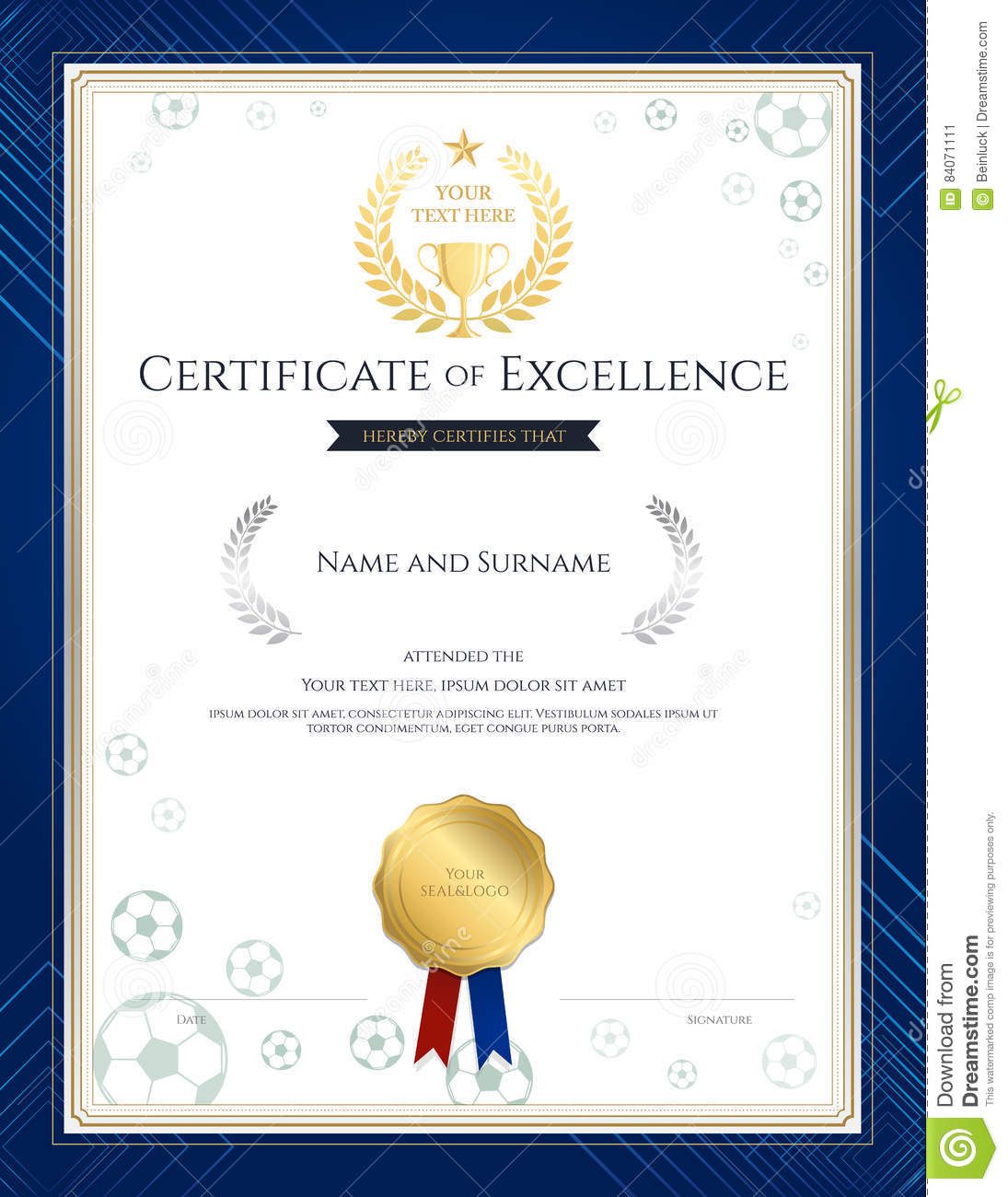 Portrait Certificate Of Excellence Template In Sport Theme For F Stock  Vector   Illustration Of Award, Honor: 84071111
