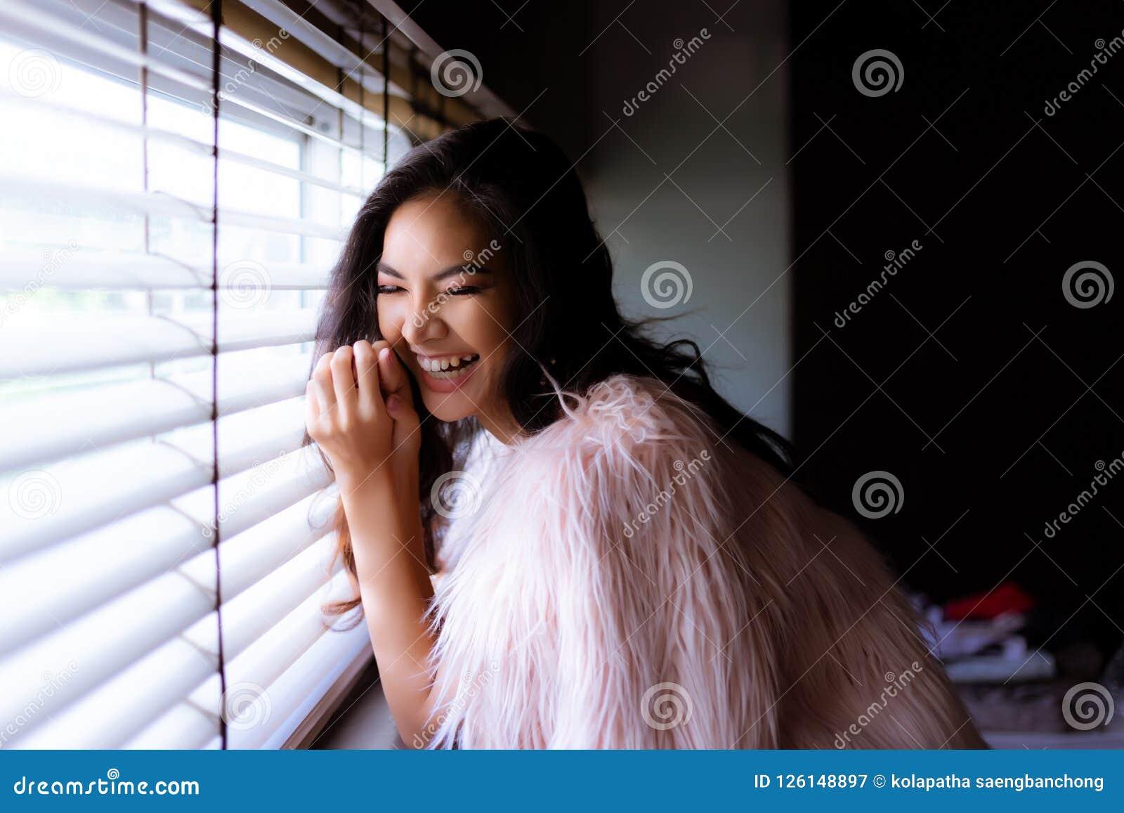 Portrait charming beautiful cheerful woman. Attractive beautiful