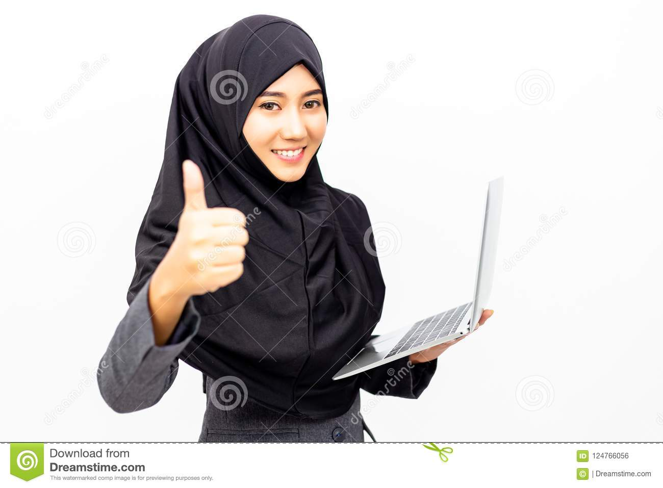 Portrait charming beautiful Muslim business woman. Attractive be