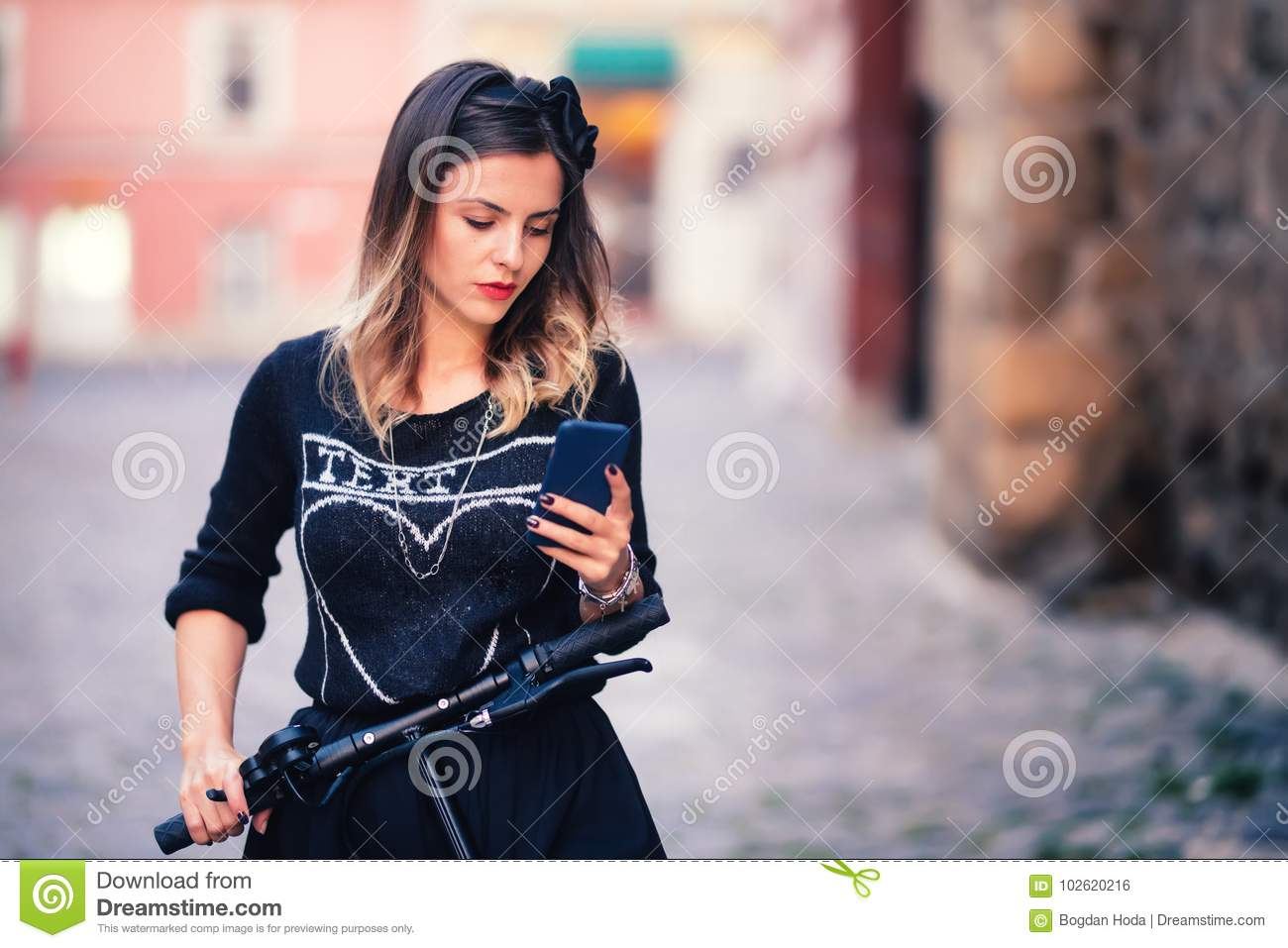 Portrait of charming woman writing text and posting on social media. Modern  life details concept 48076912fcf7