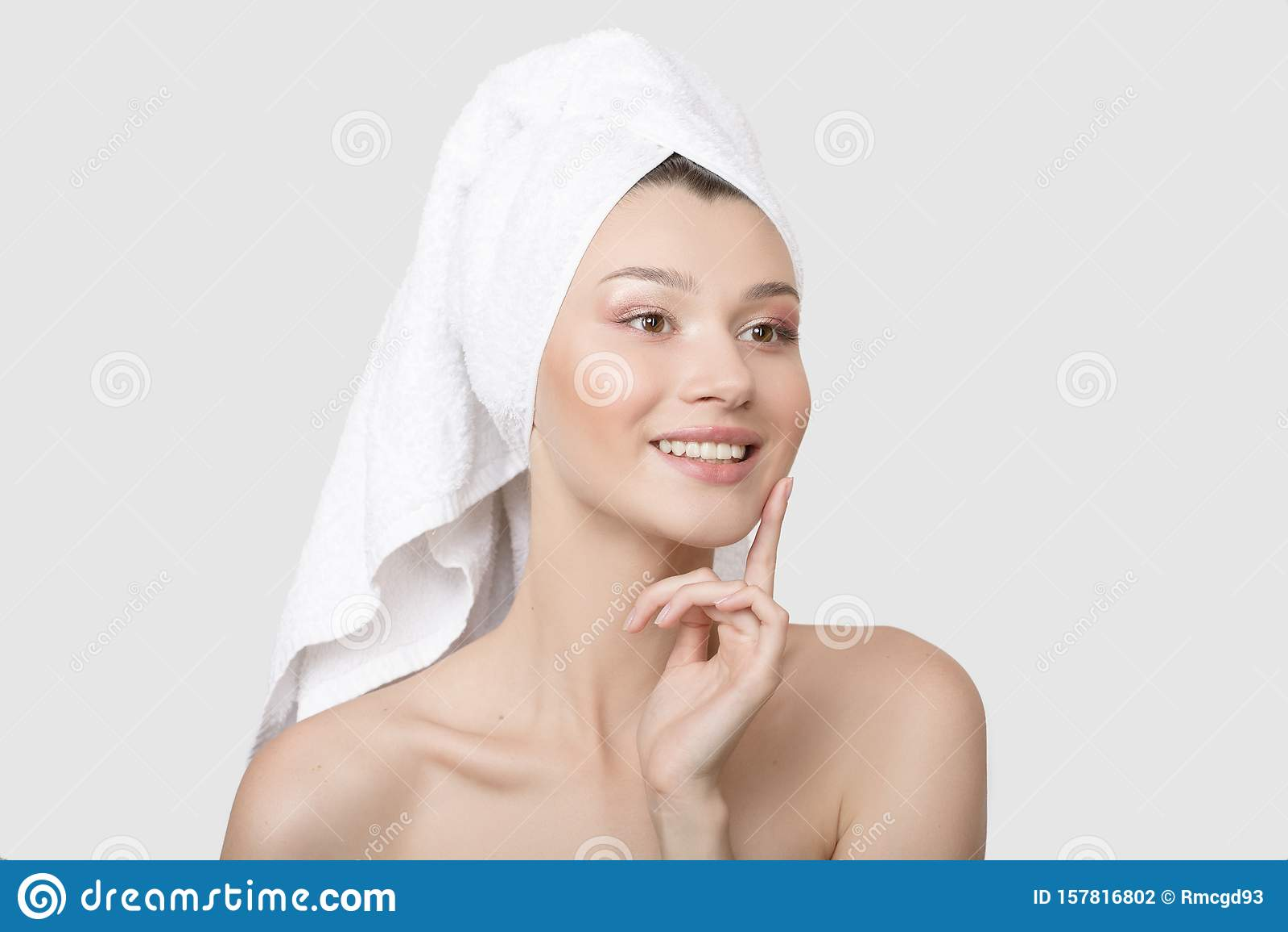 Smiling Naked Woman Holding Dental Floss Stock Image