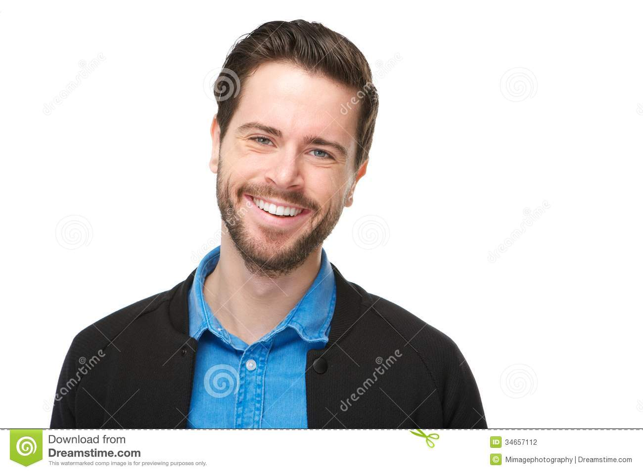 Portrait of a cheerful man with beard smiling