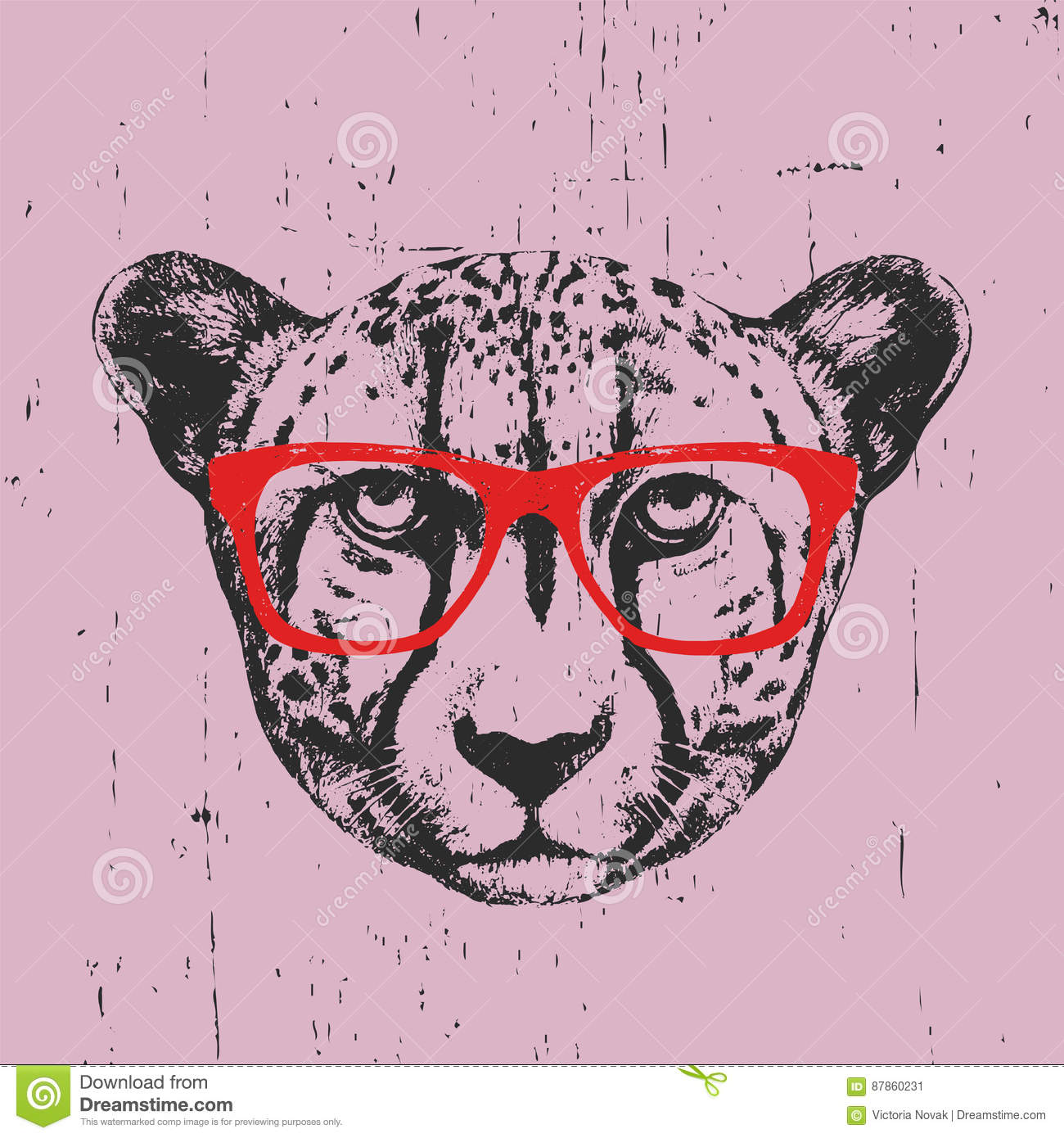 d92744e127bfc Portrait Of Cheetah With Glasses. Stock Vector - Illustration of ...