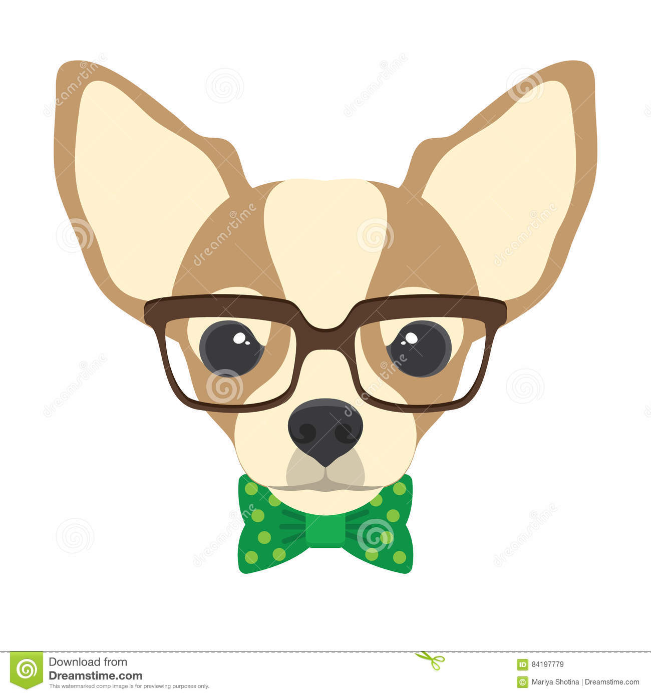 Portrait Of Chihuahua Dog With Glasses And Bow Tie In Flat Styl Stock Vector Illustration Of Cartoon Friendly 84197779