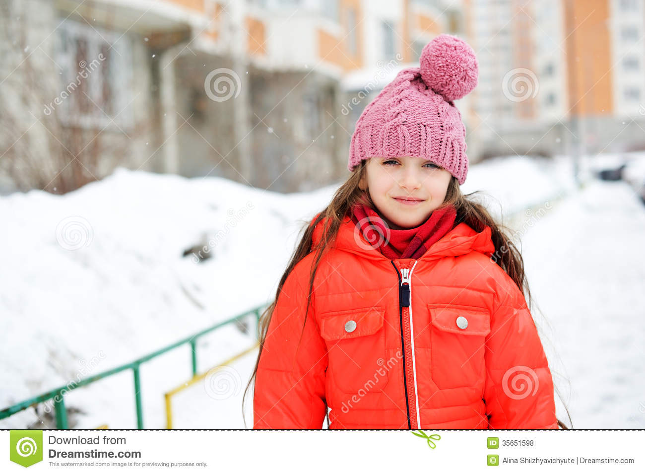 bfebcccaf Portrait Of Child Girl In Winter Clothes Stock Photo - Image of ...
