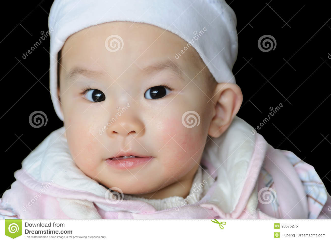 Portrait Of A Chinese Baby Under Black Background Royalty ...