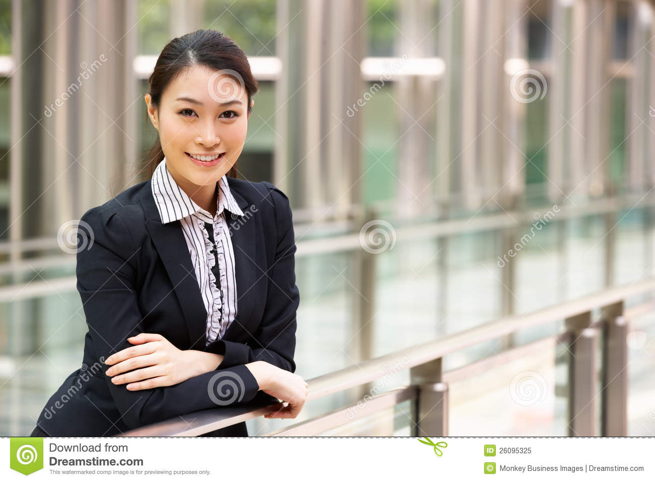 portrait of chinese businesswoman outside office stock image image