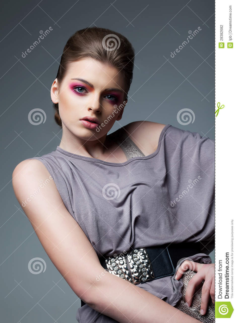 Portrait Of Classy Woman In Grey Dress Evening Professional Makeup
