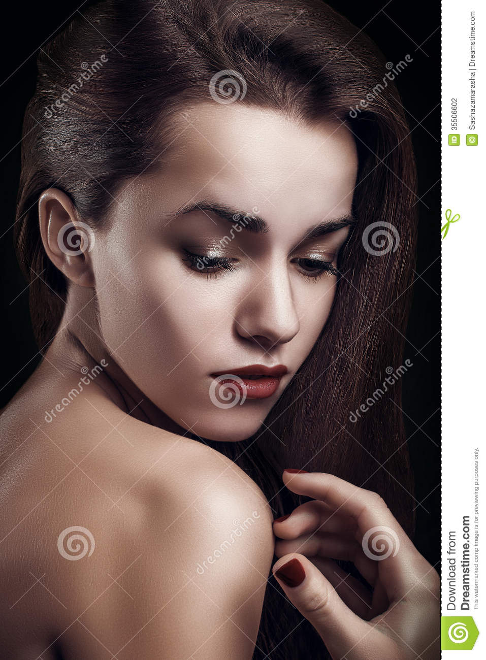Portrait Close Up Of Young Beautiful Perfect Woman High ...