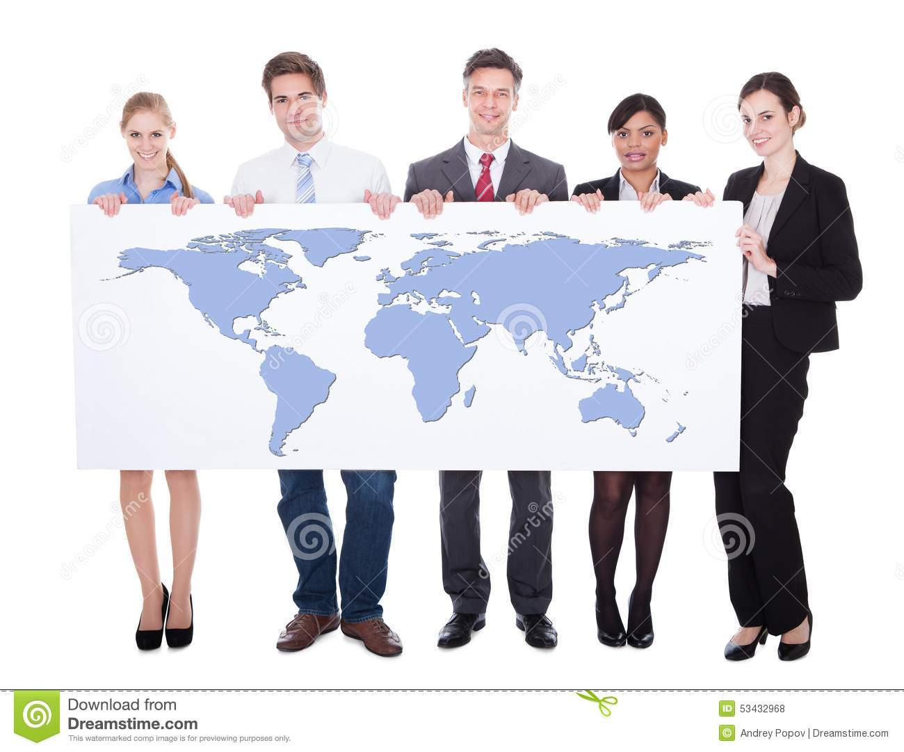 Portrait of confident businesspeople holding worldmap