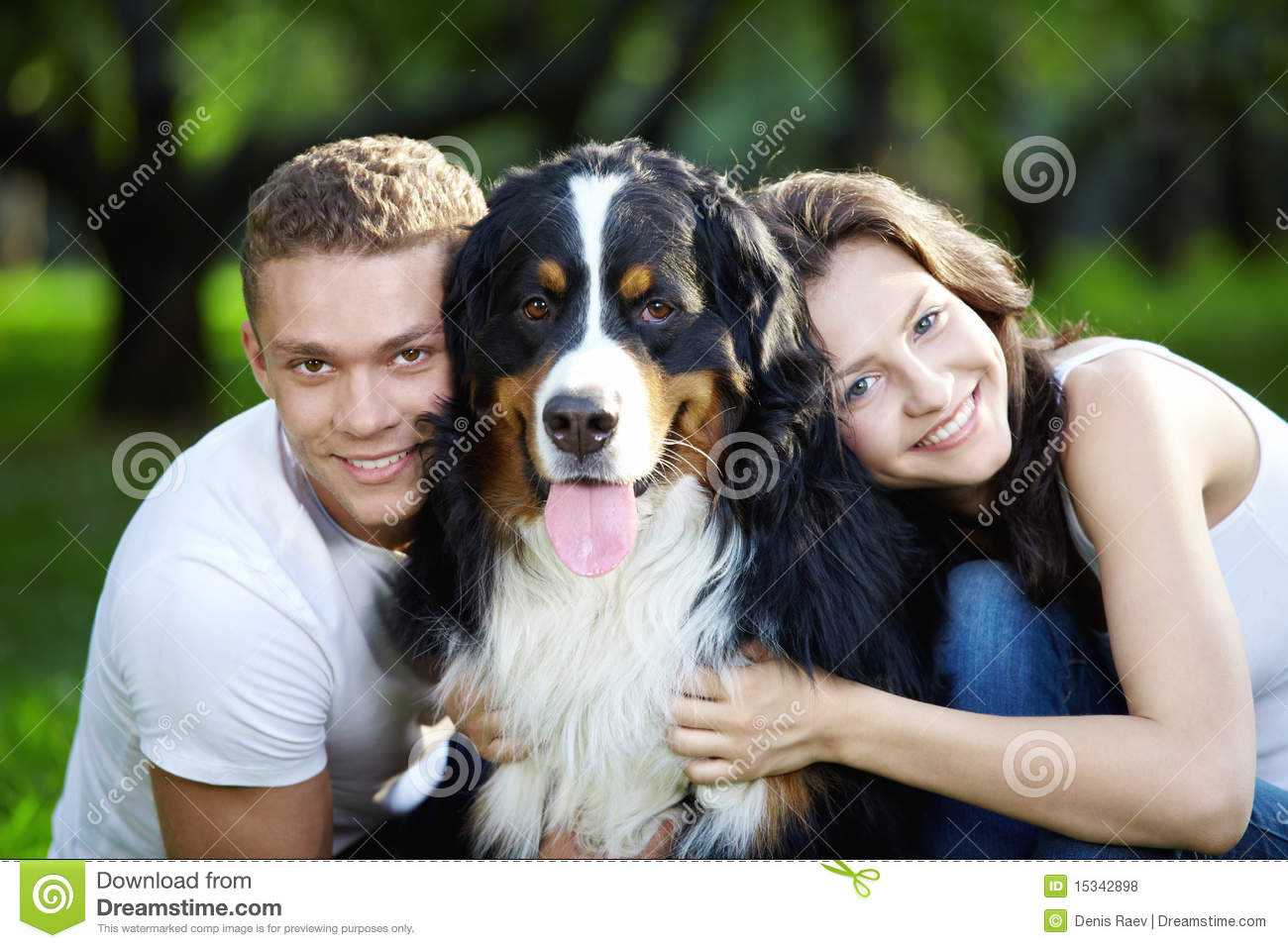 Portrait of couple with dog