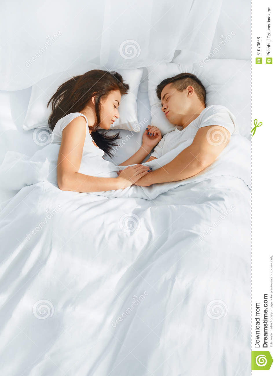 Portrait Of Couple Sleeping In The Bed Stock Photo Image