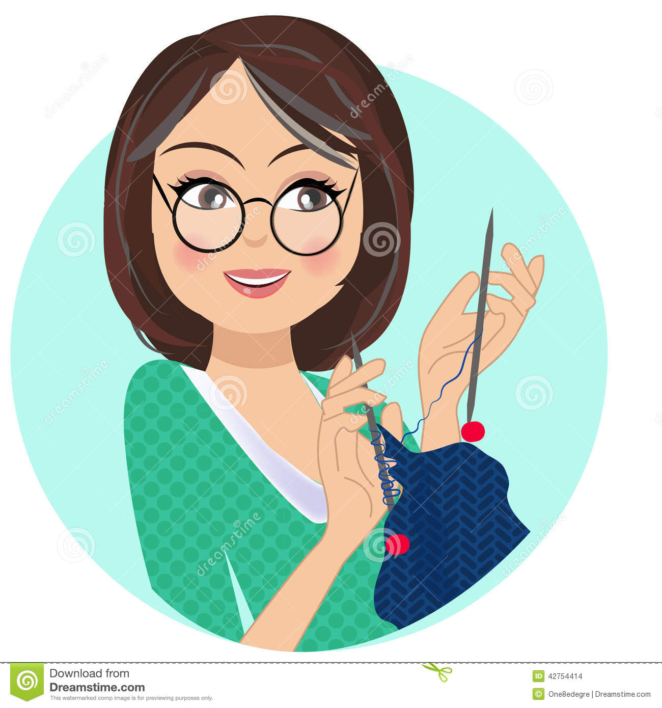 Person Knitting Clipart : A portrait of crafting woman knitting stock vector