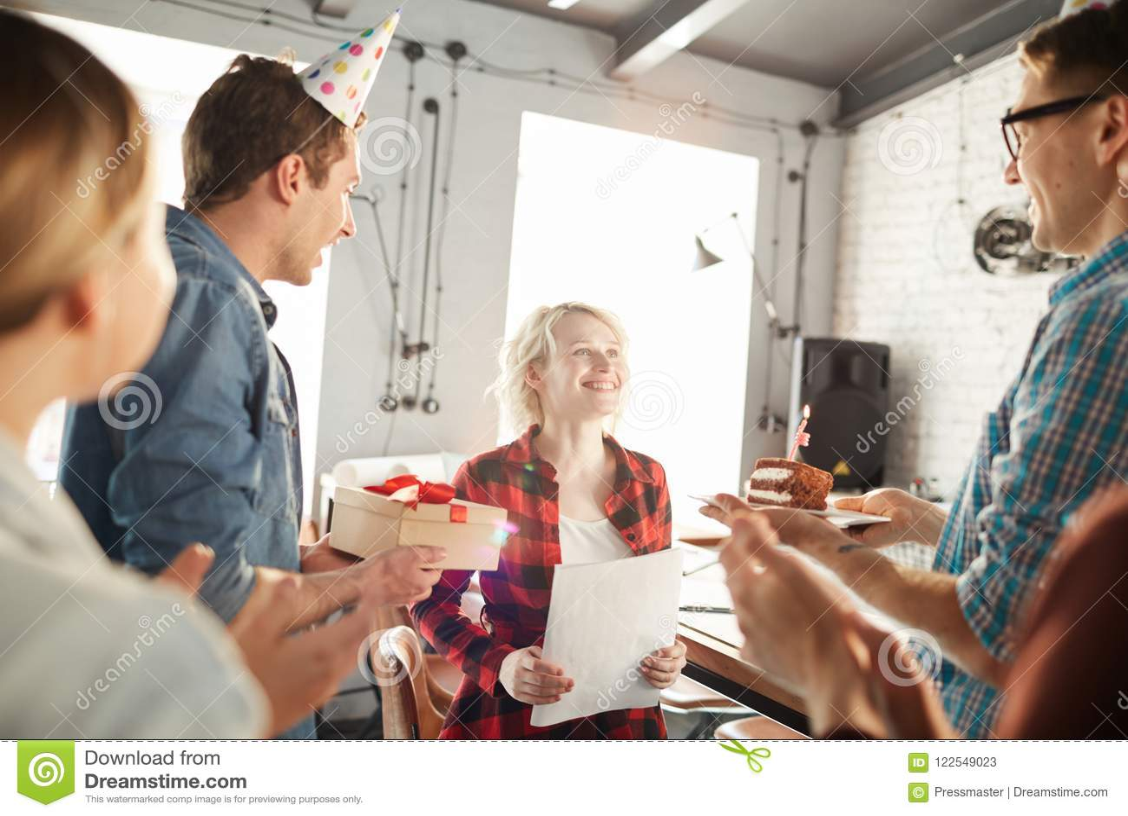 Celebrating Birthday In Office Stock Image Image Of Blonde