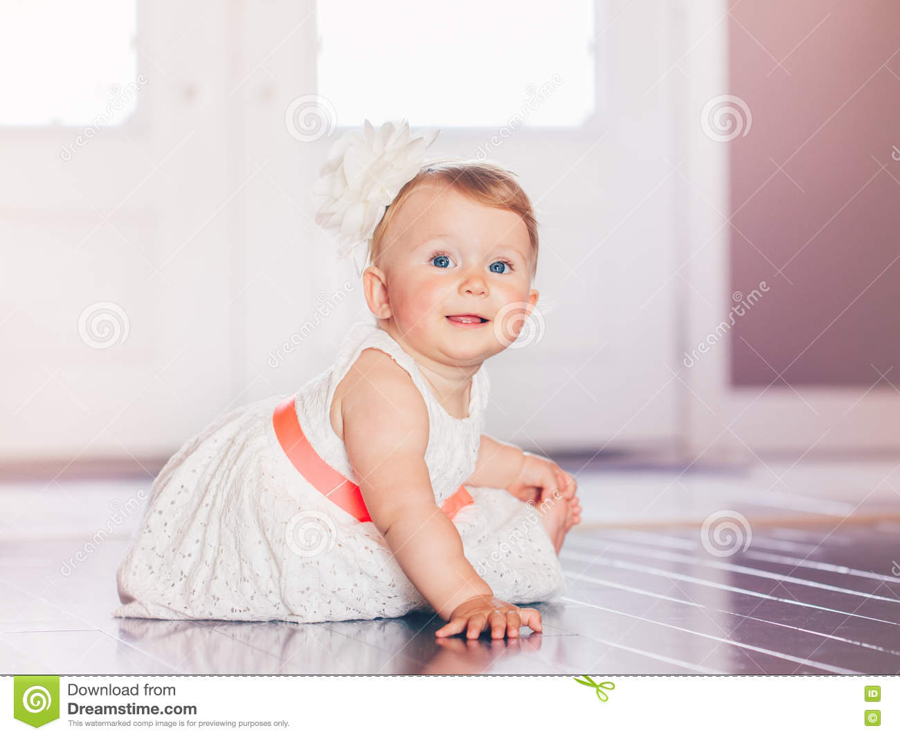 9583b9677 Portrait Of Cute Adorable Blonde Caucasian Smiling Baby Child Girl ...