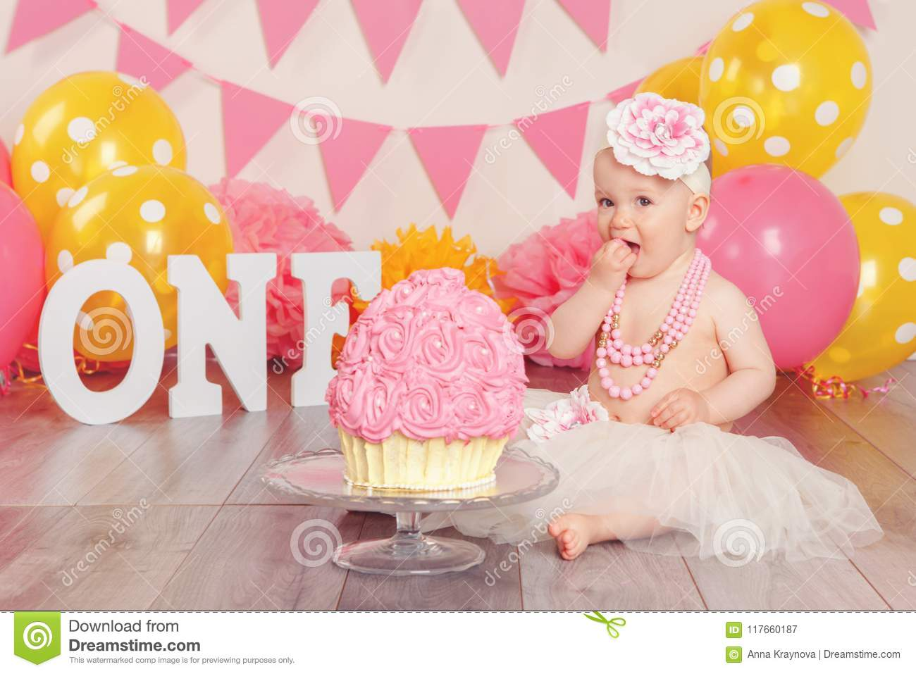 Awesome Caucasian Baby Girl In Tutu Tulle Skirt Celebrating Her First Funny Birthday Cards Online Sheoxdamsfinfo