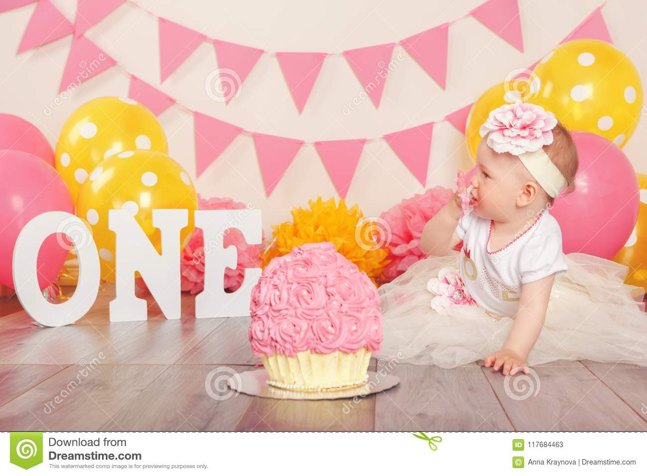 Remarkable Caucasian Baby Girl In Tutu Tulle Skirt Celebrating Her First Personalised Birthday Cards Beptaeletsinfo
