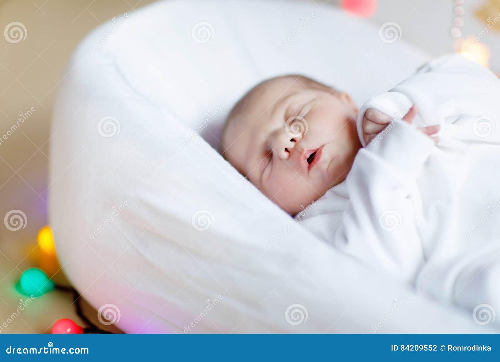 32270472e4b7 Portrait Of Cute Adorable Newborn Baby Girl Sleeping Stock Photo ...