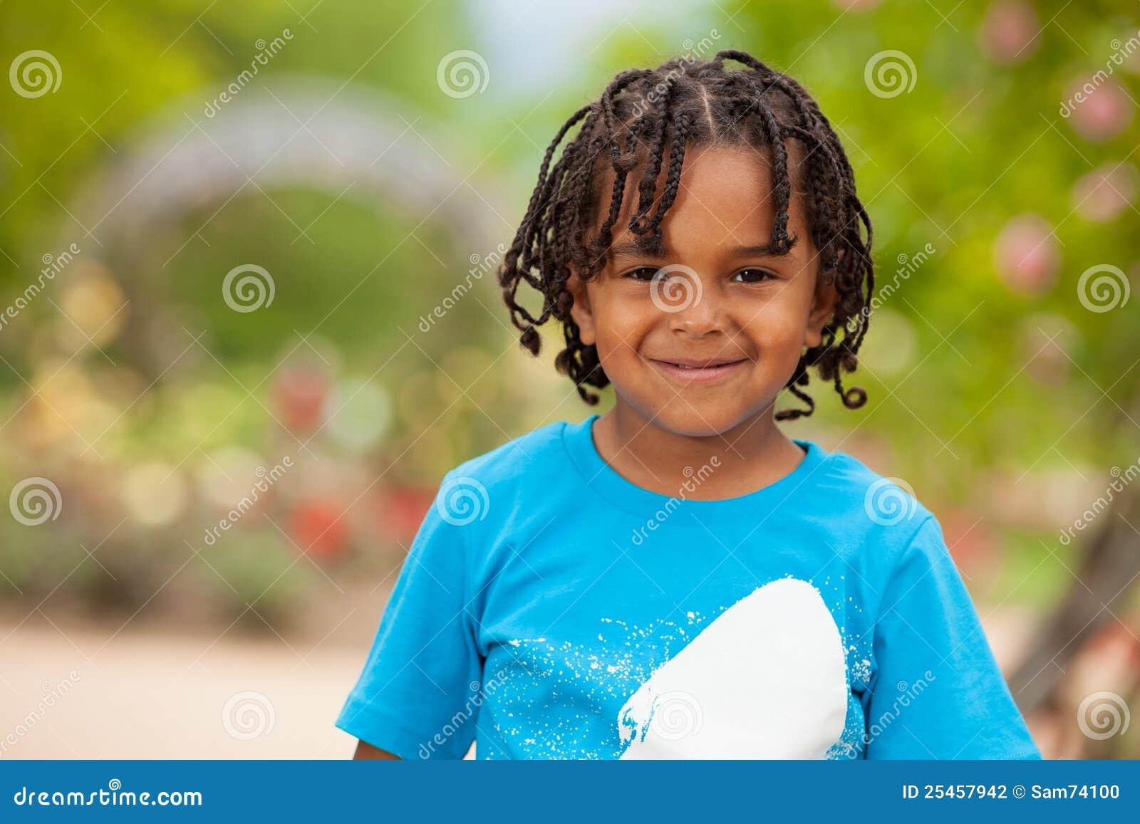 Portrait Of A Cute African American Little Boy Stock