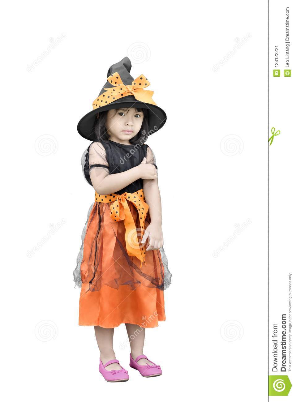 Portrait Of Cute Asian Girl With Witch Costume For Halloween Stock Image Image Of Little Lifestyle 123122221
