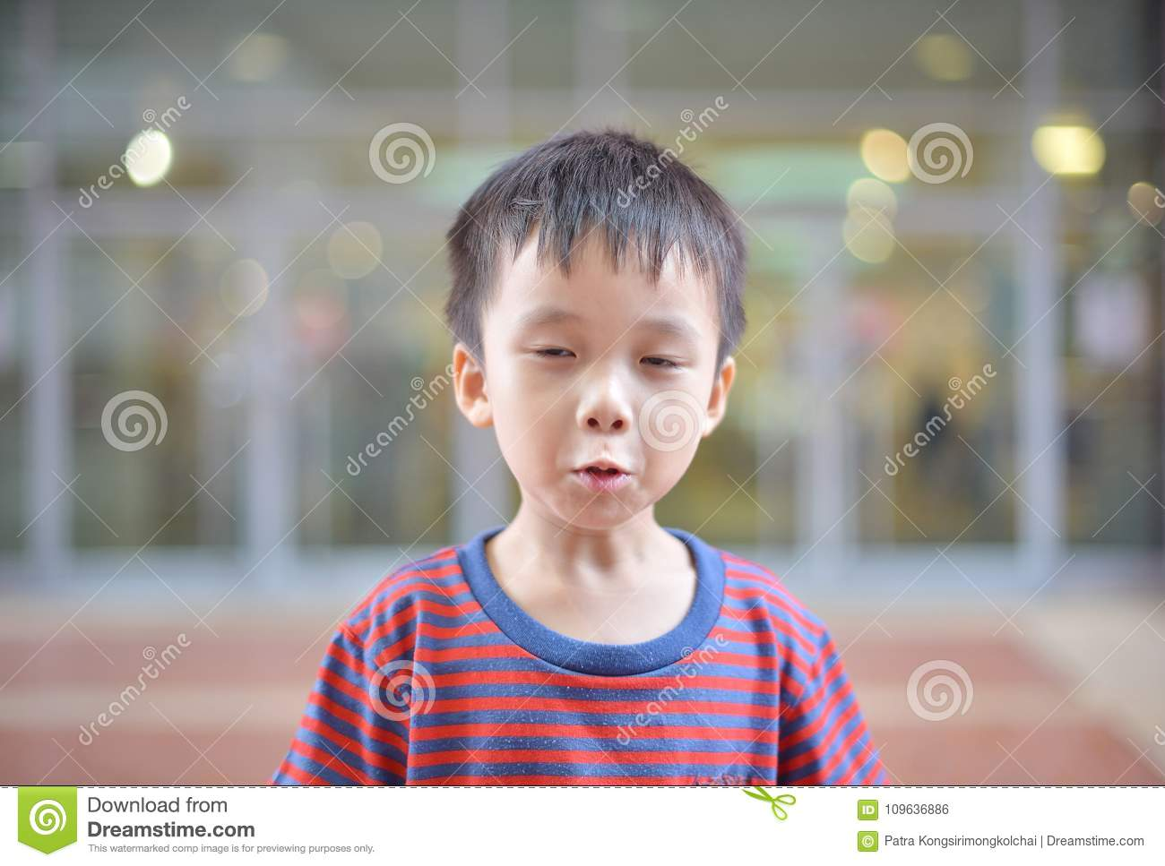 portrait of cute asian kid smiling isolated stock photo - image of