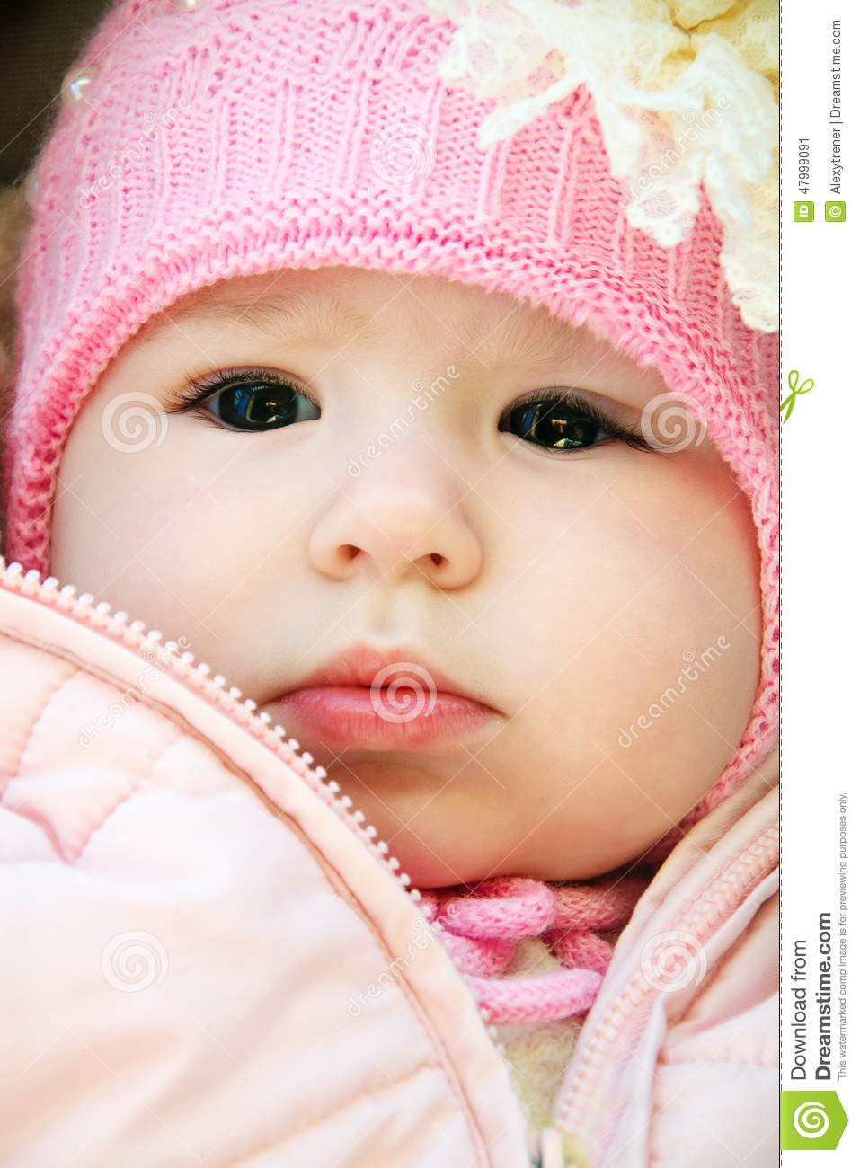 portrait of cute baby with big beautiful eyes stock image - image of