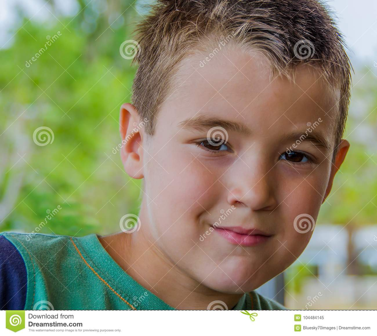 Portrait Of A Cute Boy With Blonde Hair Stock Image Image Of White