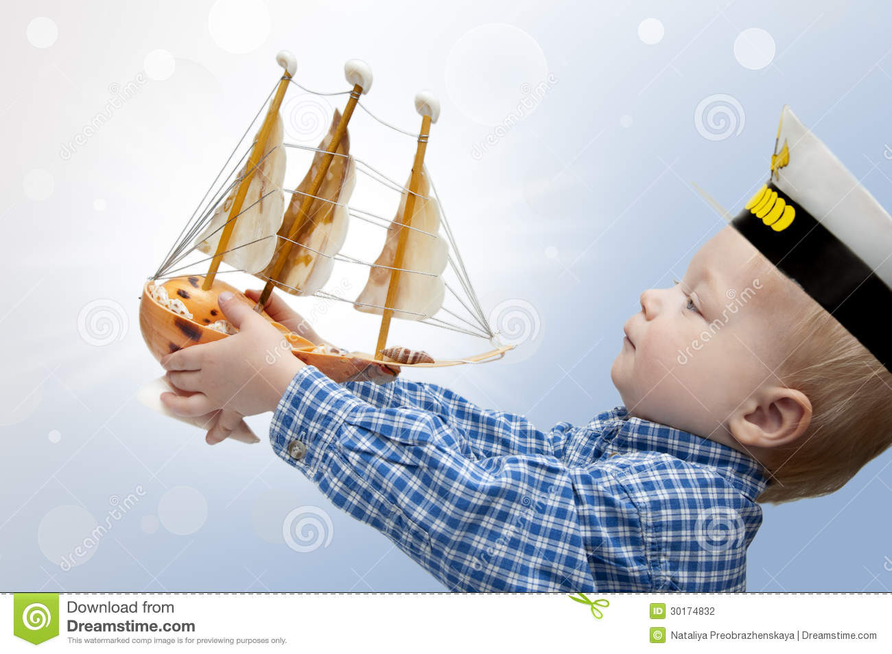 Small Captain With The Ship Stock Photo Image 30174832