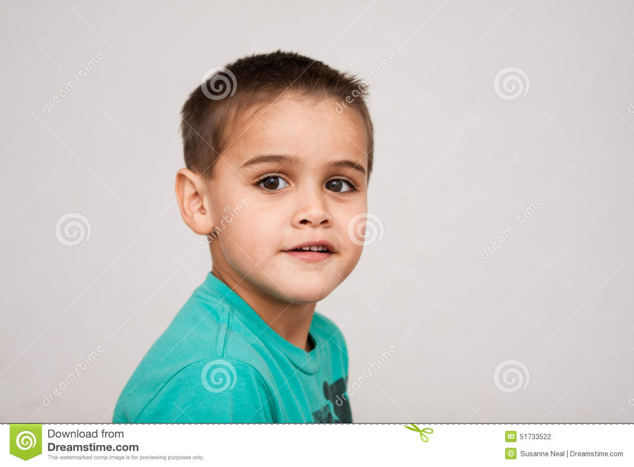 Surprising Portrait Of Cute Four Year Old Boy With Short Haircut Stock Photo Short Hairstyles For Black Women Fulllsitofus