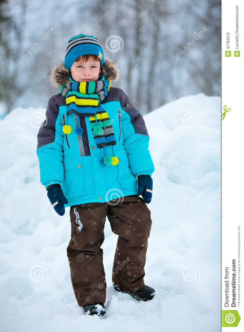 Portrait Of Cute Little Boy In Winter Clothes Stock Image ...
