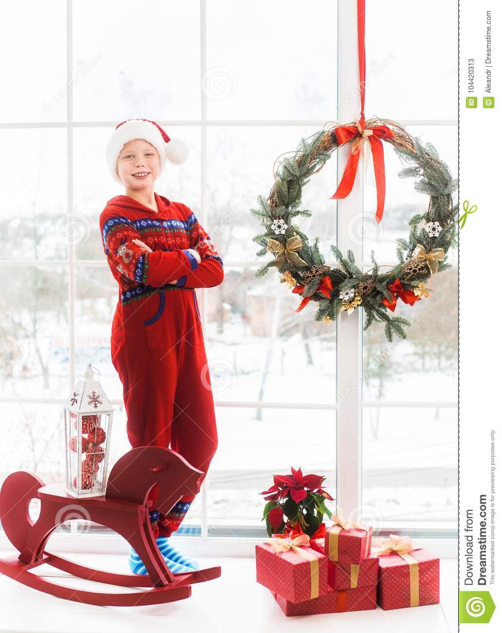 Little Child In Holiday Christmas White And Red Interior Stock Image ...