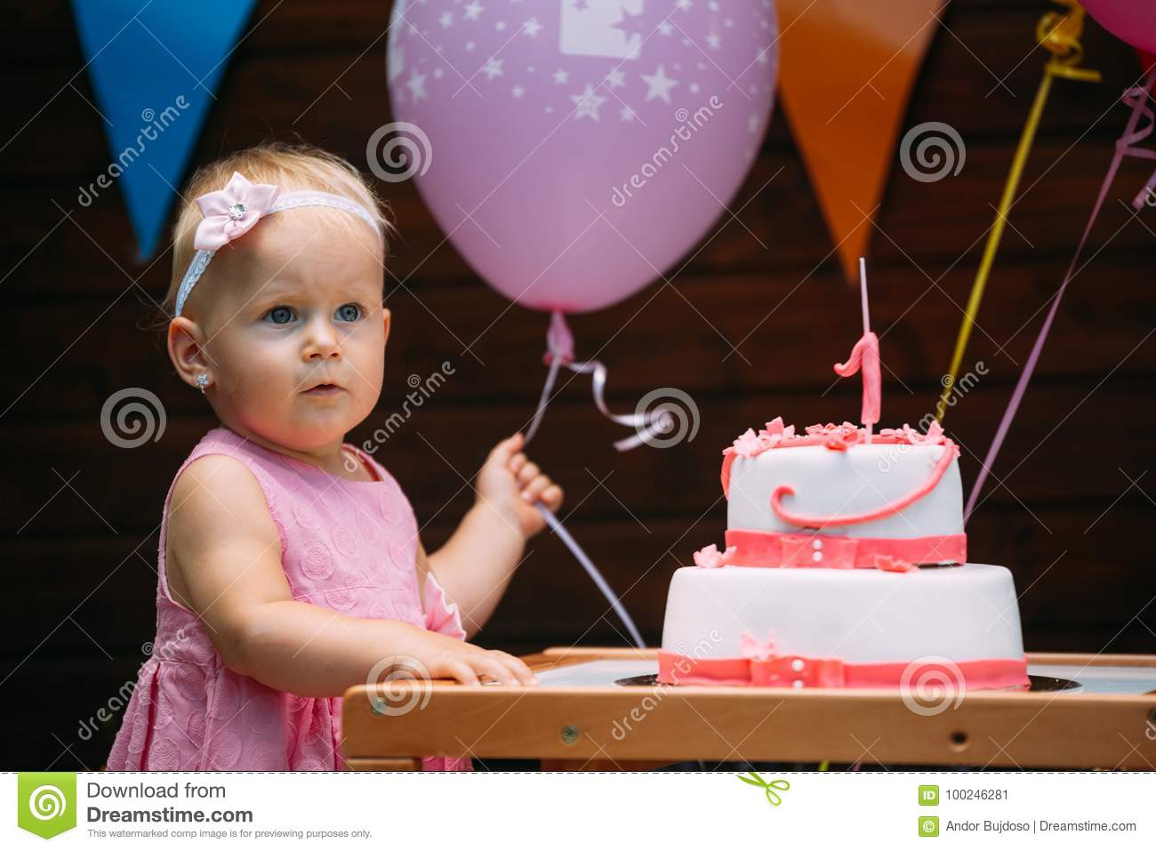 Portrait of little girl at birthday party