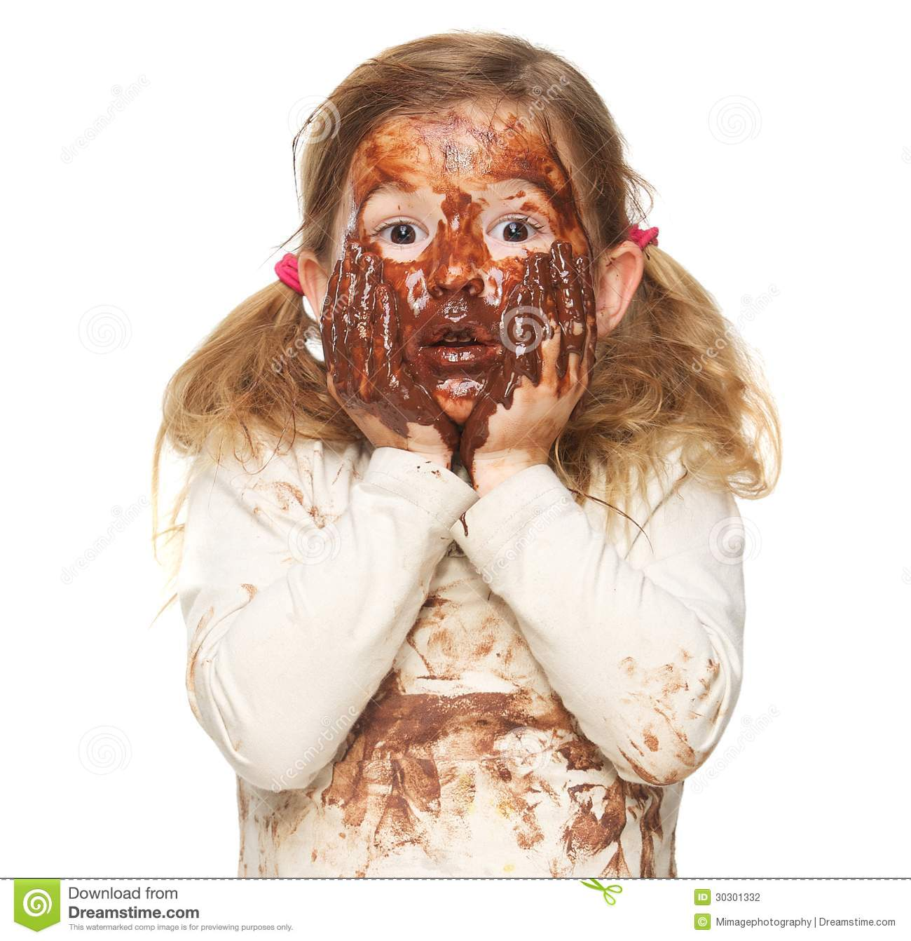 girl covered in ice cream